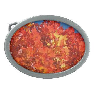 Hojas de otoño anaranjadas de Bucke de la correa d Hebilla Cinturon Oval