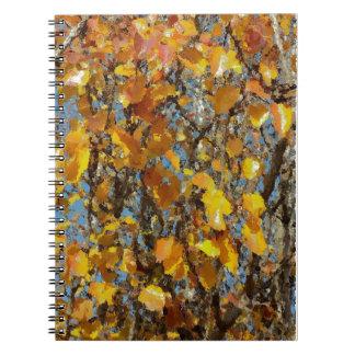 Hojas de otoño anaranjadas libreta espiral