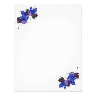 Hojas de otoño azules plantilla de membrete