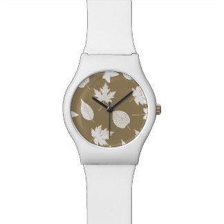 Hojas de otoño - blancas y moreno de color topo relojes de mano