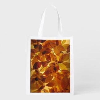 Hojas de otoño bolsa reutilizable