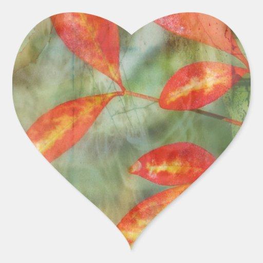 Hojas de otoño calcomanía corazón personalizadas