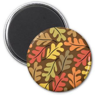 Hojas de otoño calientes imán redondo 5 cm