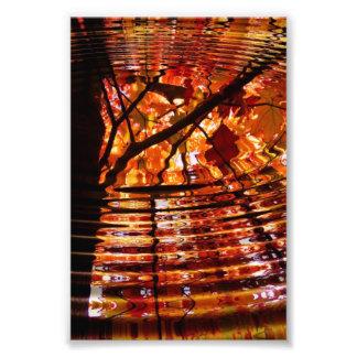 Hojas de otoño coloridas reflejadas en agua fotografía