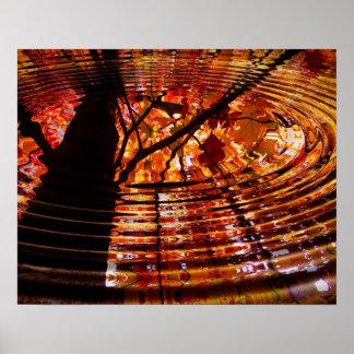 Hojas de otoño coloridas reflejadas en agua poster