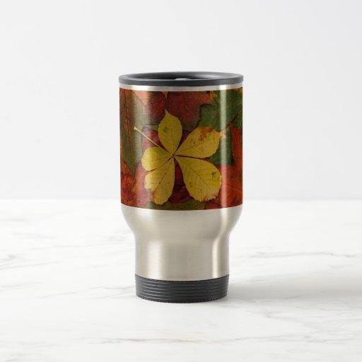 hojas de otoño coloridas taza de viaje