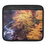 Hojas de otoño con el río fundas para iPads