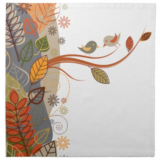 Hojas de otoño con los pájaros servilletas de papel