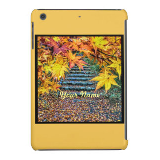 Hojas de otoño cuadradas amarillas de la plantilla fundas de iPad mini retina