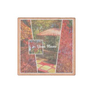 Hojas de otoño cuadradas anaranjadas de la imán de piedra