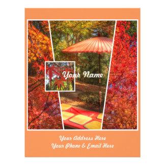 Hojas de otoño cuadradas anaranjadas de la membrete personalizado