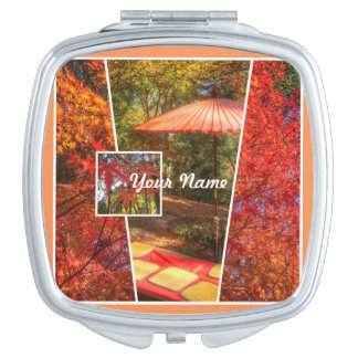 Hojas de otoño cuadradas anaranjadas de la espejo maquillaje