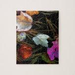 Hojas de otoño de la tapicería del agua en el agua puzzles