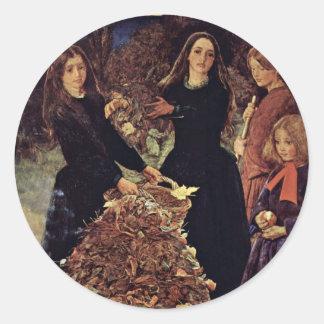Hojas de otoño de Millais Juan Everett Pegatinas Redondas