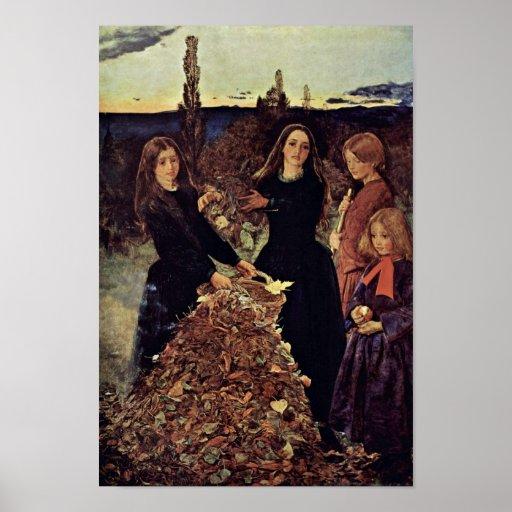 Hojas de otoño de Millais Juan Everett Póster