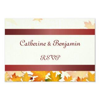 Hojas de otoño de oro con RSVP que se casa rojo Invitación 8,9 X 12,7 Cm