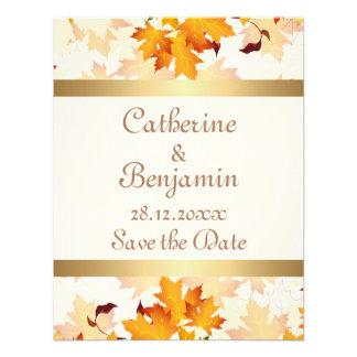 Hojas de otoño de oro que casan reserva la fecha comunicado