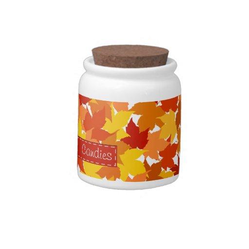 Hojas de otoño del árbol de arce tarro de cerámica para dulces