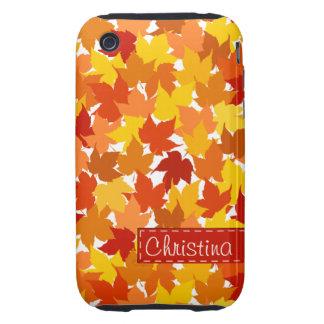 Hojas de otoño del árbol de arce funda resistente para iPhone 3