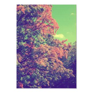 Hojas de otoño del vintage invitación 12,7 x 17,8 cm