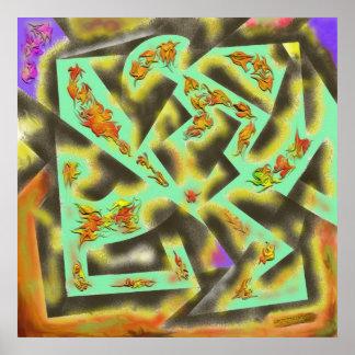 Hojas de otoño - diseño abstracto impresiones