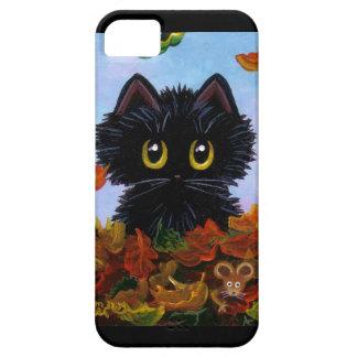 Hojas de otoño divertidas del ratón del caso del iPhone 5 funda