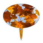 Hojas de otoño en el cielo decoración para tarta