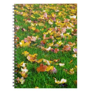 Hojas de otoño en la hierba verde cuaderno