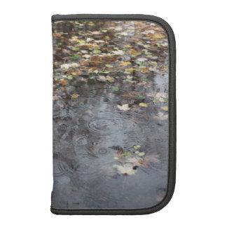 Hojas de otoño en la lluvia planificadores