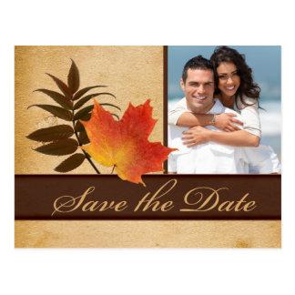Hojas de otoño en reserva de papel envejecida de l tarjeta postal