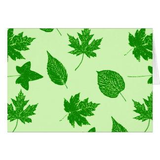 Hojas de otoño - esmeralda y verde lima tarjeta pequeña