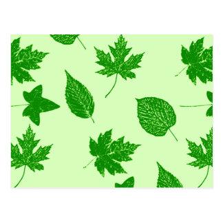 Hojas de otoño - esmeralda y verde lima tarjetas postales