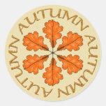 hojas de otoño etiqueta redonda