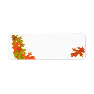 Hojas de otoño, etiquetas de dirección