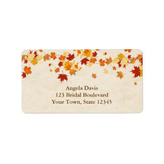 Hojas de otoño etiquetas de dirección