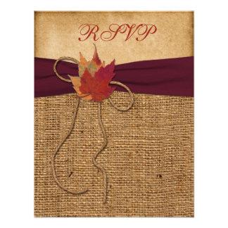 Hojas de otoño, FALSA tarjeta de RSVP de la Invitacion Personalizada