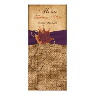 Hojas de otoño, FALSA tarjeta del menú del boda de Tarjetas Publicitarias A Todo Color