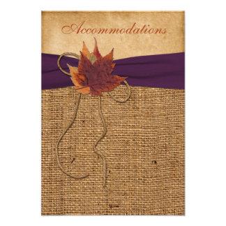 Hojas de otoño FALSA tarjeta del recinto del boda Comunicados Personalizados