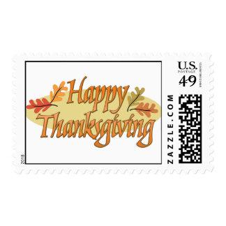 Hojas de otoño felices de la acción de gracias estampillas