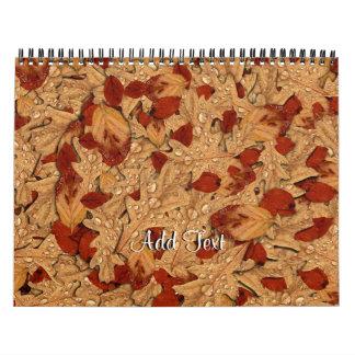 Hojas de otoño mojadas calendarios