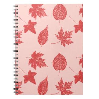 Hojas de otoño - naranja coralino y rosa libretas espirales
