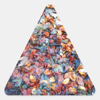 Hojas de otoño pegatina triangular