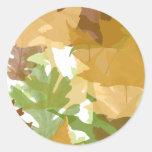 Hojas de otoño pegatinas redondas