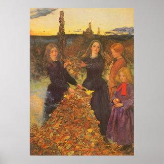Hojas de otoño por Millais, arte del Victorian del Poster