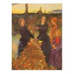 Hojas de otoño por Millais, arte del Victorian del Tarjetas Postales