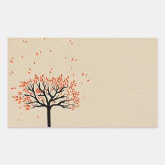 Hojas de otoño que caen pegatina rectangular