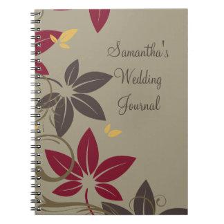 Hojas de otoño que casan el diario spiral notebooks