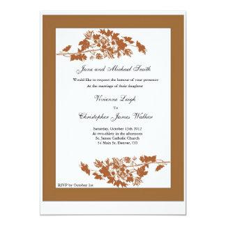 Hojas de otoño que casan la invitación