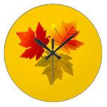 Hojas de otoño reloj de pared