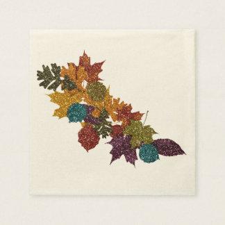 Hojas de otoño relucientes servilletas desechables